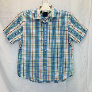 Silk Blend Short Sleeve Plaid Shirt - Men's M
